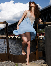 Amazing brunette beauty talia a is naked by the river